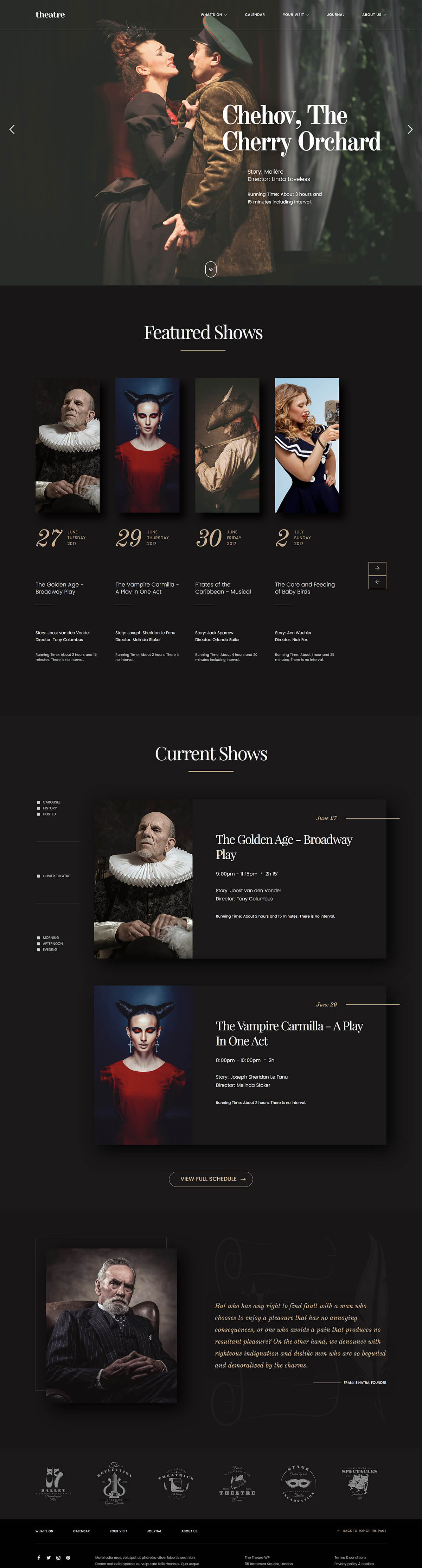 Theatre WordPress Theme - Homepage
