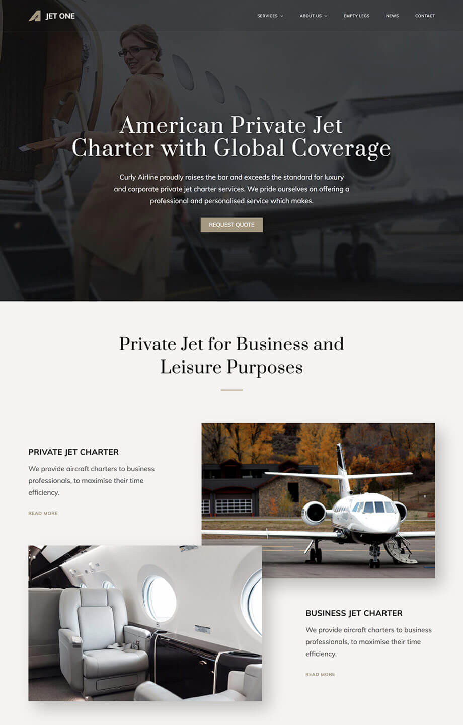 Private Airline WordPress Theme
